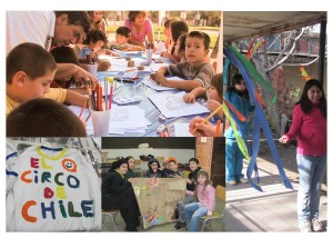 collage of pics, children doing art and playing
