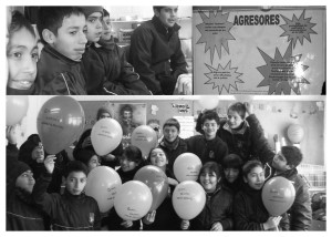 collage of pic boys and kids with balloon