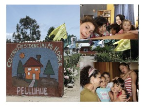 collage of images, kids smiling and outside of house